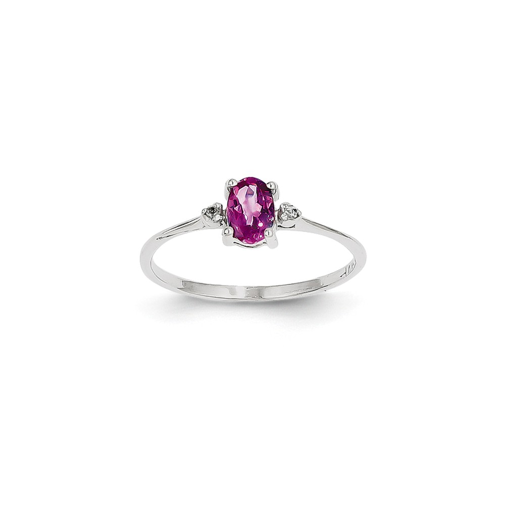 14K White Gold (0.016cttw) Diamond and Pink Tourmaline Birth Month Ring Size-6 by