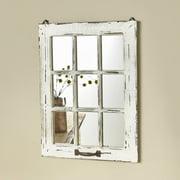Distressed Wood Windowpane Mirror - Rustic Home Decoration - White
