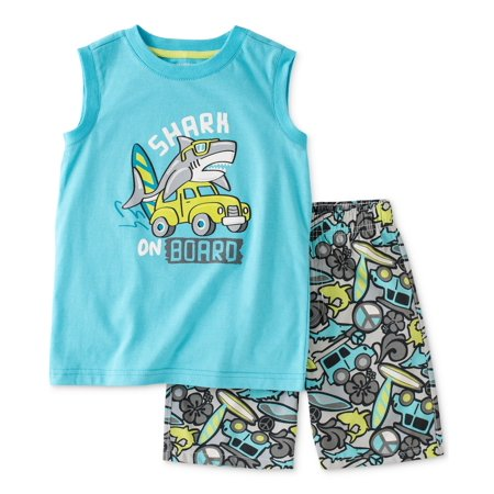 Kids Headquarters Baby Boys 2-Pc Tank & Short Set - Blue Shark on Board