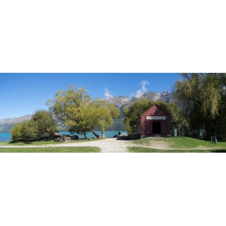 Historic Glenorchy receiving barn at pier on Lake Wakatipu Otago Region South Island New Zealand Poster Print by Panoramic Images ()