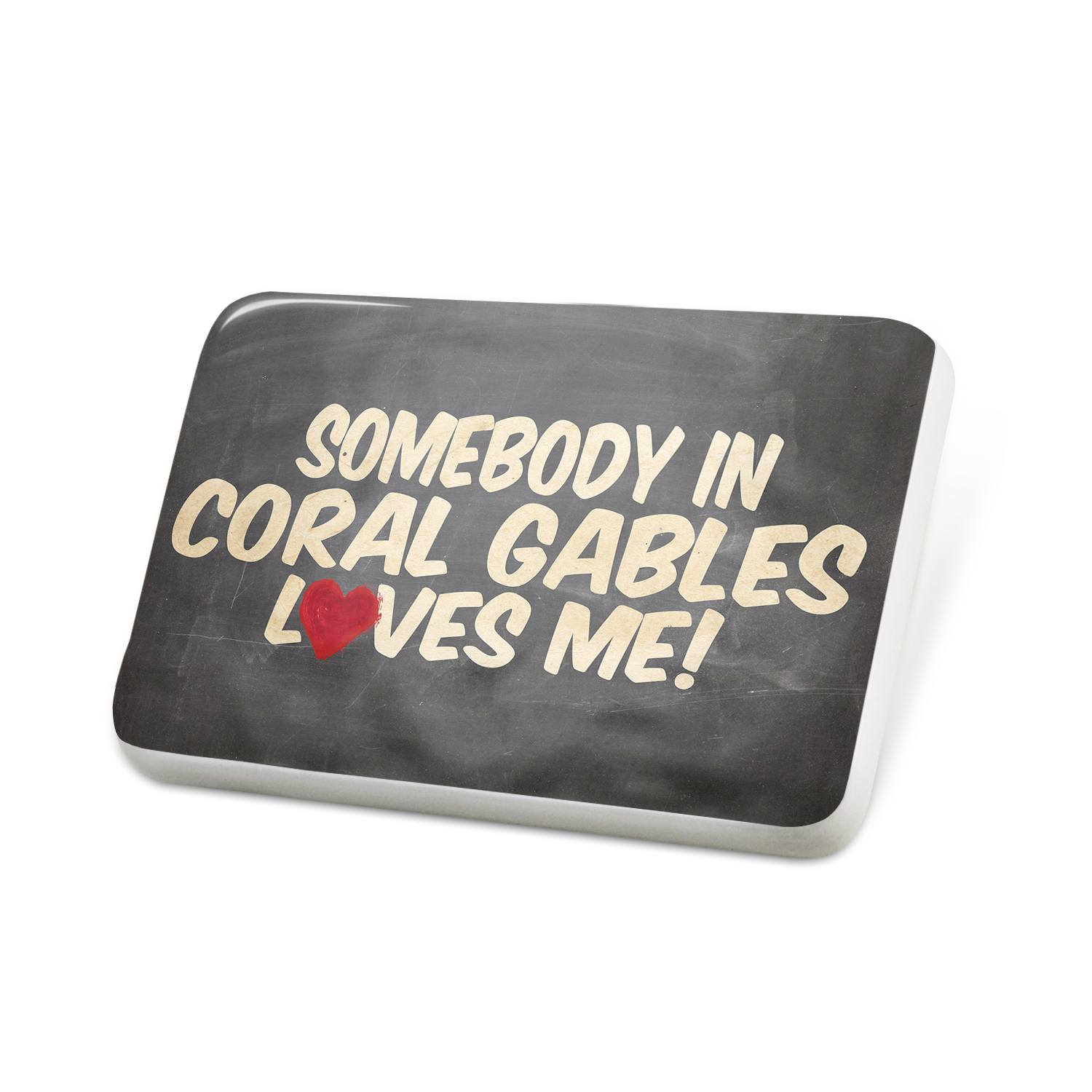 Porcelein Pin Somebody in Coral Gables Loves me, Florida Lapel Badge � NEONBLOND by NEONBLOND