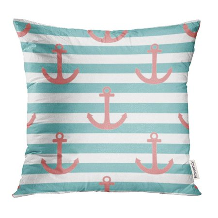 CMFUN Green Summer Sailor Pattern Pastel Pink Anchor on Mint Blue Stripes Navy Cute Pillowcase Cushion Cover 18x18 inch (Blue Pastel)