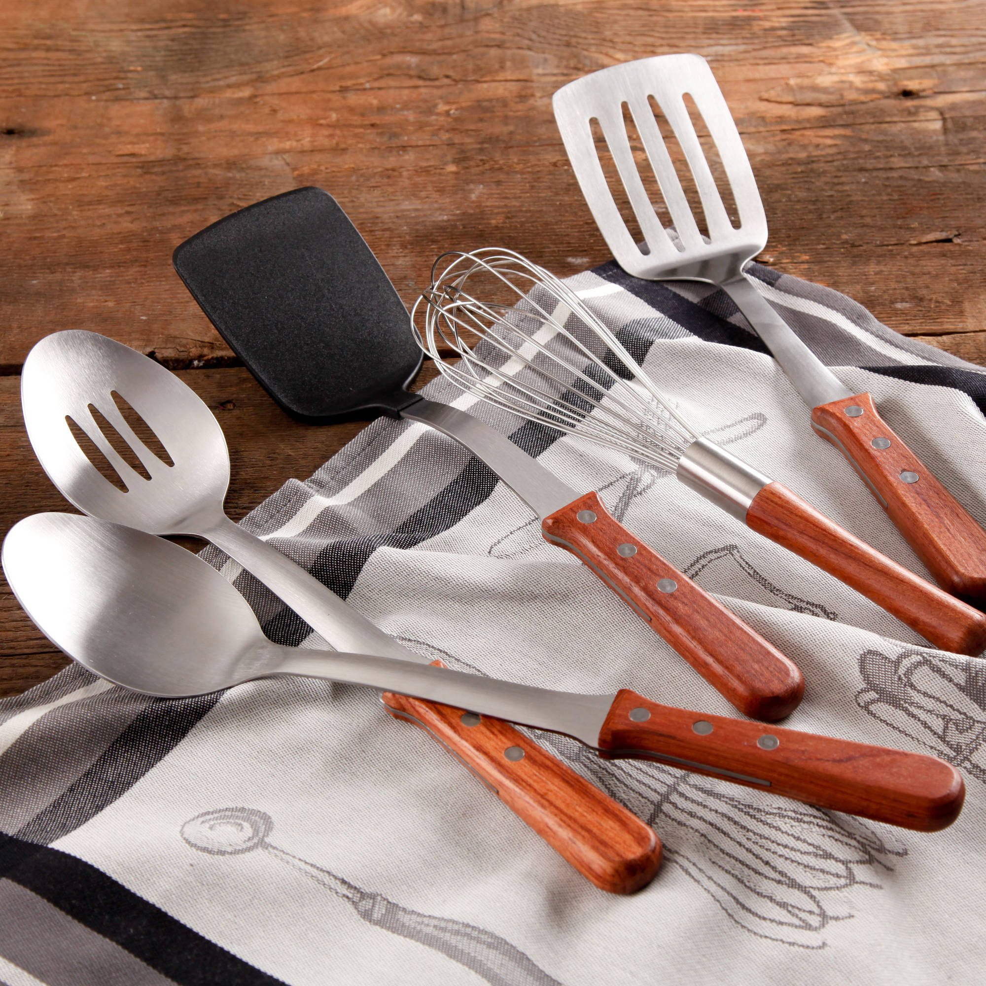 The Pioneer Woman Cowboy Rustic Breakfast Essentials 5-Piece Kitchen Tool Set with Rosewood Handle