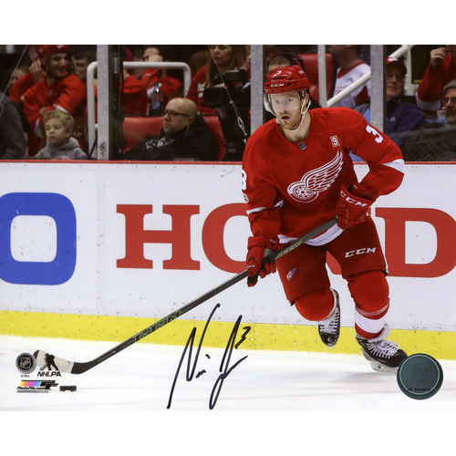"Nick Jensen Detroit Red Wings Autographed 8"" x 10"" Red Jersey Skating Photograph No Size by Fanatics Authentic"