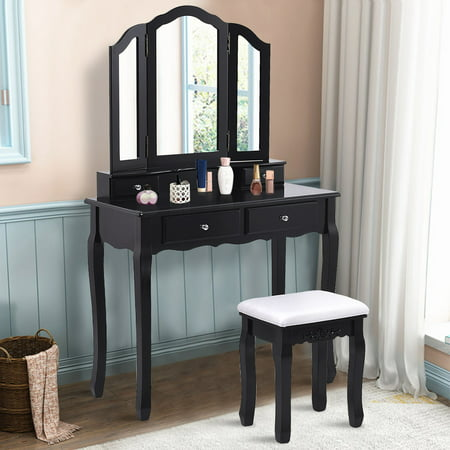 Costway Makeup Table Stool Set Tri Folding Mirror Vanity