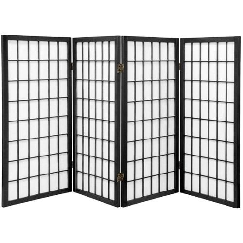 Wood/ Paper Panel Miniature Windowpane Shoji Screen (China) Rosewood - 3 Panel