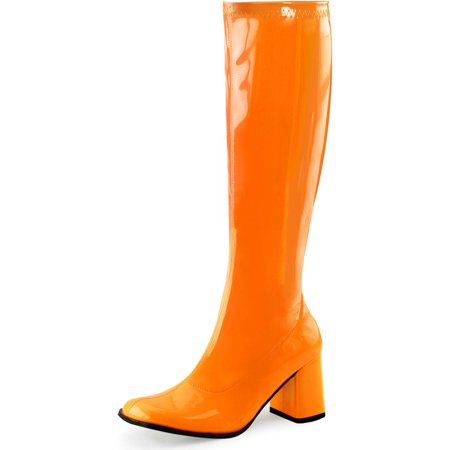 Womens Go Go Boots Fun Neon Orange Knee High Shoes Side Zipper 3 Inch - Go Go Boots 1960