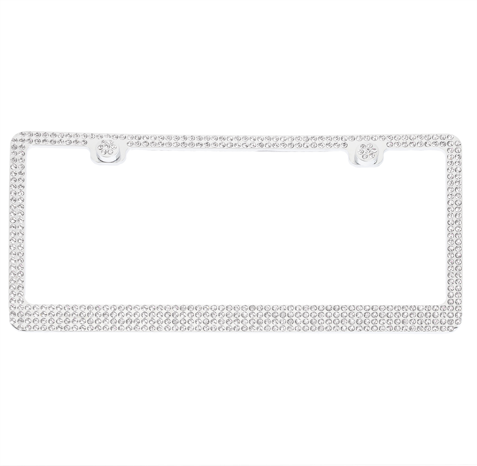 Crystal Case 4 Row Bling Rhinestone Stainless Steel Car License ...