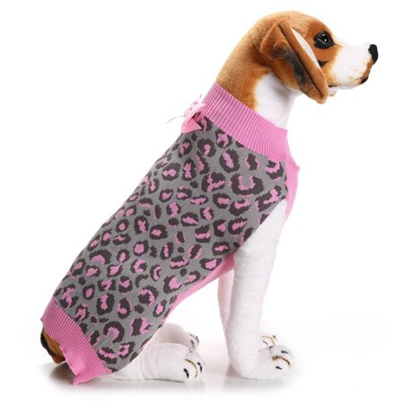 Pink Leopard Pet Dog Puppy Cute Clothes Puppy Winter Sweater Bowknot