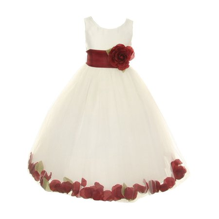 Little Girls Ivory Burgundy Petal Adorned Satin Tulle Flower Girl Dress 2T-6 (Tulle Ivory Flower Girl Dresses)