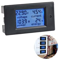 Multimeter Ammeter Voltmeter with Overload Alarm Function, Large-screen LCD (displays Voltage, Current, Active Power, Energy At The Same Time)