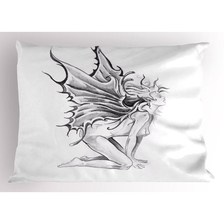Tattoo Pillow Sham Artistic Pencil Drawing Artwork Print Nude Fairy Opening its Angel Wings Print, Decorative Standard Size Printed Pillowcase, 26 X 20 Inches, Black and White, by Ambesonne