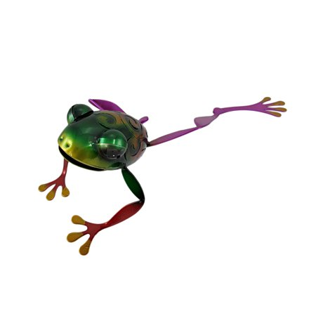 - Adorable Multicolor Stretching Tree Frog Metal Statue