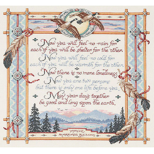 "Apache Wedding Blessing Counted Cross-Stitch Kit, 15"" x 14"", 14-Count"