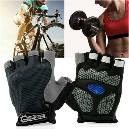 GEARONIC TM Cycling half Finger Mountain Bicycle Men Women Gel Pad Anti-slip Breathable Outdoor Sports Shock-absorbing Riding Biking Cycle Gloves - Gray