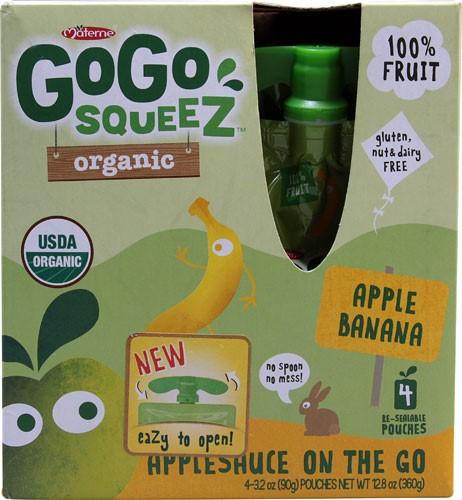 GoGo Squeez Organic Applesauce On The Go - Apple Banana, 3.2 Ounce, 4 Count