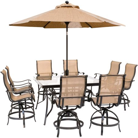 Image of Hanover Monaco 9-Piece Counter-Height Outdoor Dining Set with 8 Sling Swivel Chairs, 60-In. Glass-Top Table, Umbrella and Stand