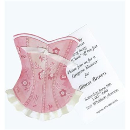 Stevie Streck Designs AW954BOX Pink Corset With White Ribbon Tag - Pack of 3