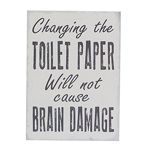 "Changing the Toilet Paper Will Not Cause Brain Damage Box Wall Art Sign, Primitive Country Farmhouse Bathroom Home Decor Sign With Sayings 7"" x 5"" By Barnyard Designs"