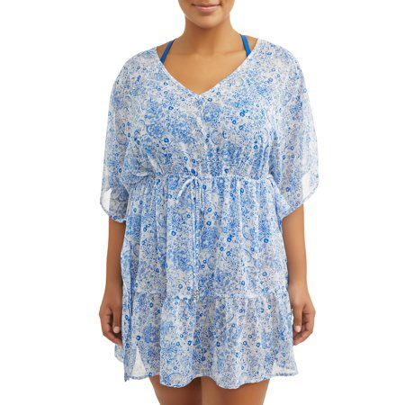 Time and Tru Women's Plus-Size Ruffle Hem Caftan Tie Front Print Chiffon Swim