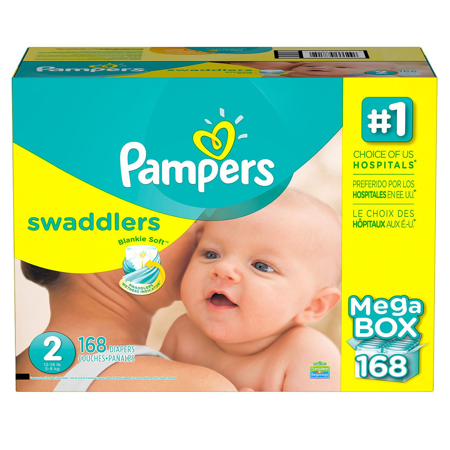 Pampers' Swaddlers Diapers Size 2 - 168 ct. ( Weight 12- 18 lb.) - Bulk Qty, Free Shipping - Comfortable, Soft, No leaking & Good nite Diapers