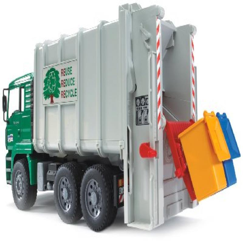 Bruder Toys Man Garbage Truck Rear Loading Green