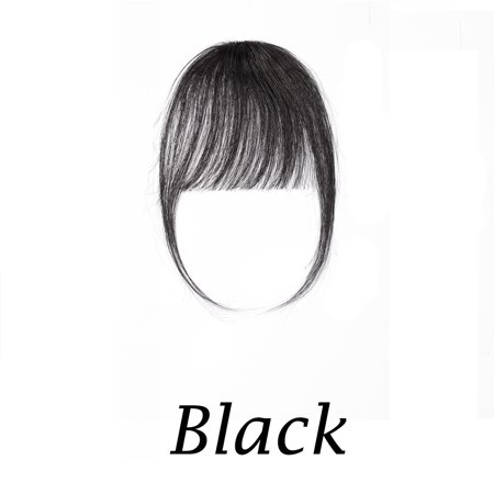 S-noilite Clips in Hair Bangs Fringe Hair Extensions Clip On Bang Air Bangs Topper 3D Straight Hairpieces False Short Flat Two Side (Short Medium Length Layered Hairstyles With Bangs)