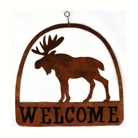Moose Warning Sign - Gift Essentials Moose Round Welcome Sign Decor
