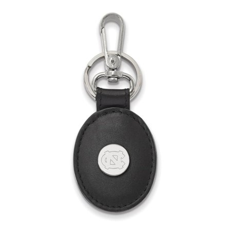North Carolina Black Leather Oval Key Chain (Sterling Silver)