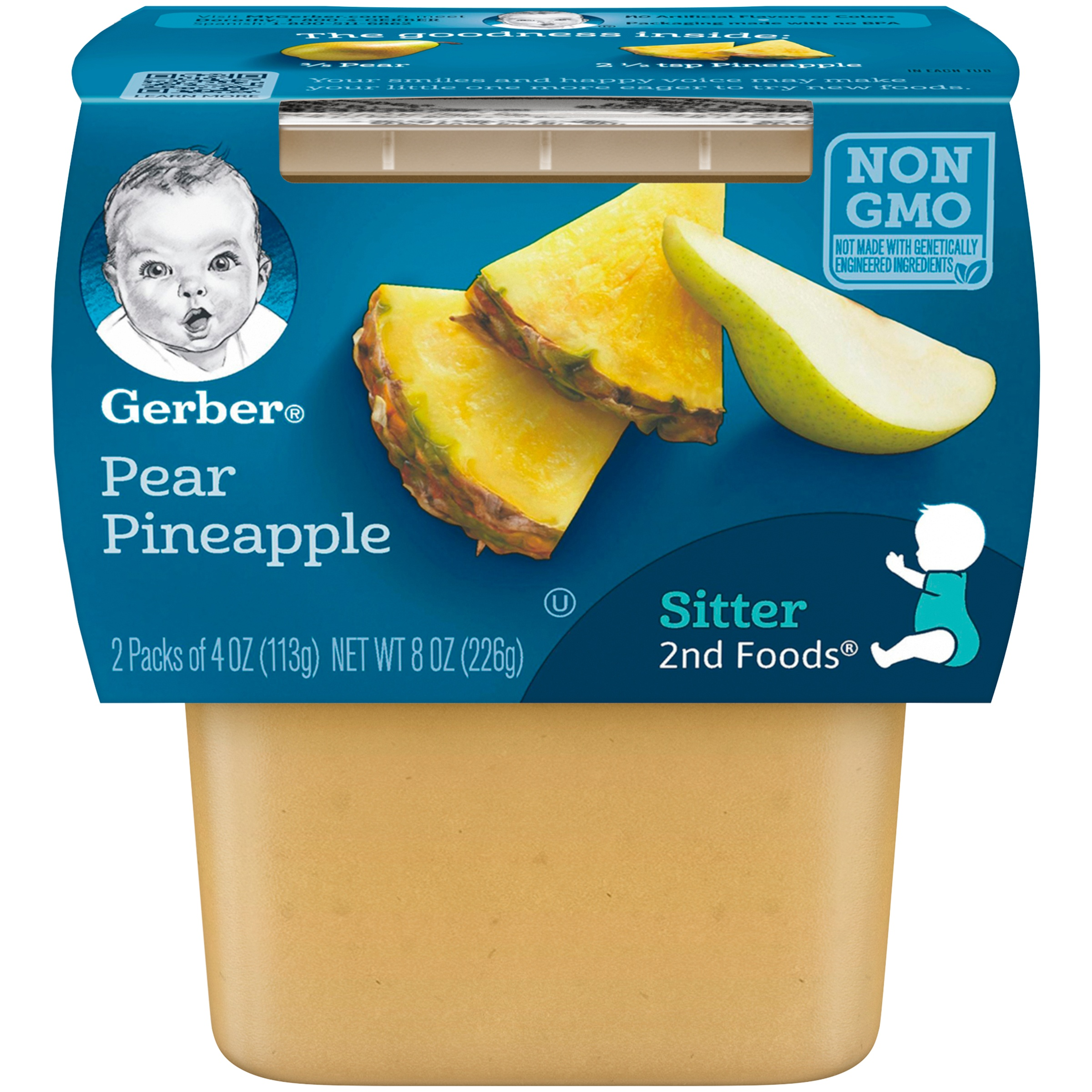 Gerber 2nd Foods Pear Pineapple Baby Food, 4 oz. Tubs, 2 Count (Pack of 8) by Gerber