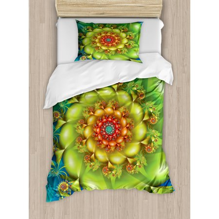 Trippy Twin Size Duvet Cover Set, Colorful Spiral Fractal Twirling Flowers in Vivid Colors Whirlpool Image Vortex, Decorative 2 Piece Bedding Set with 1 Pillow Sham, Multicolor, by Ambesonne ()