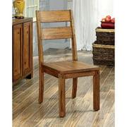Furniture of America  Maiz Rustic Oak Solid Wood Dining Chairs (Set of 2)