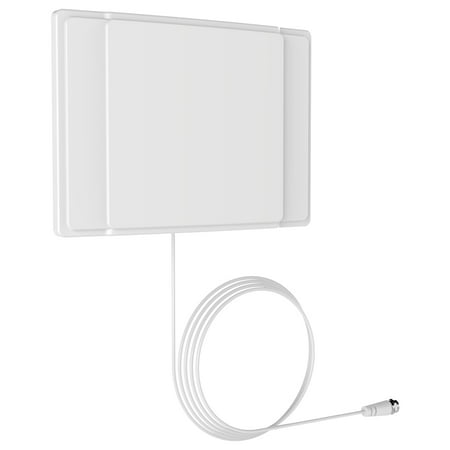 Antenna 12 Inch Magnetic Mount (Barkan 40 Miles, Indoor HDTV Flat TV Antenna, wall mounted / tabletop positioning, 10 ft cable, White, 2 year Warranty )