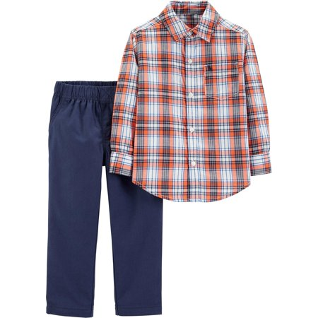 Carters Baby Boys Plaid Button Down Pants Set Carters Baby Boys Robot