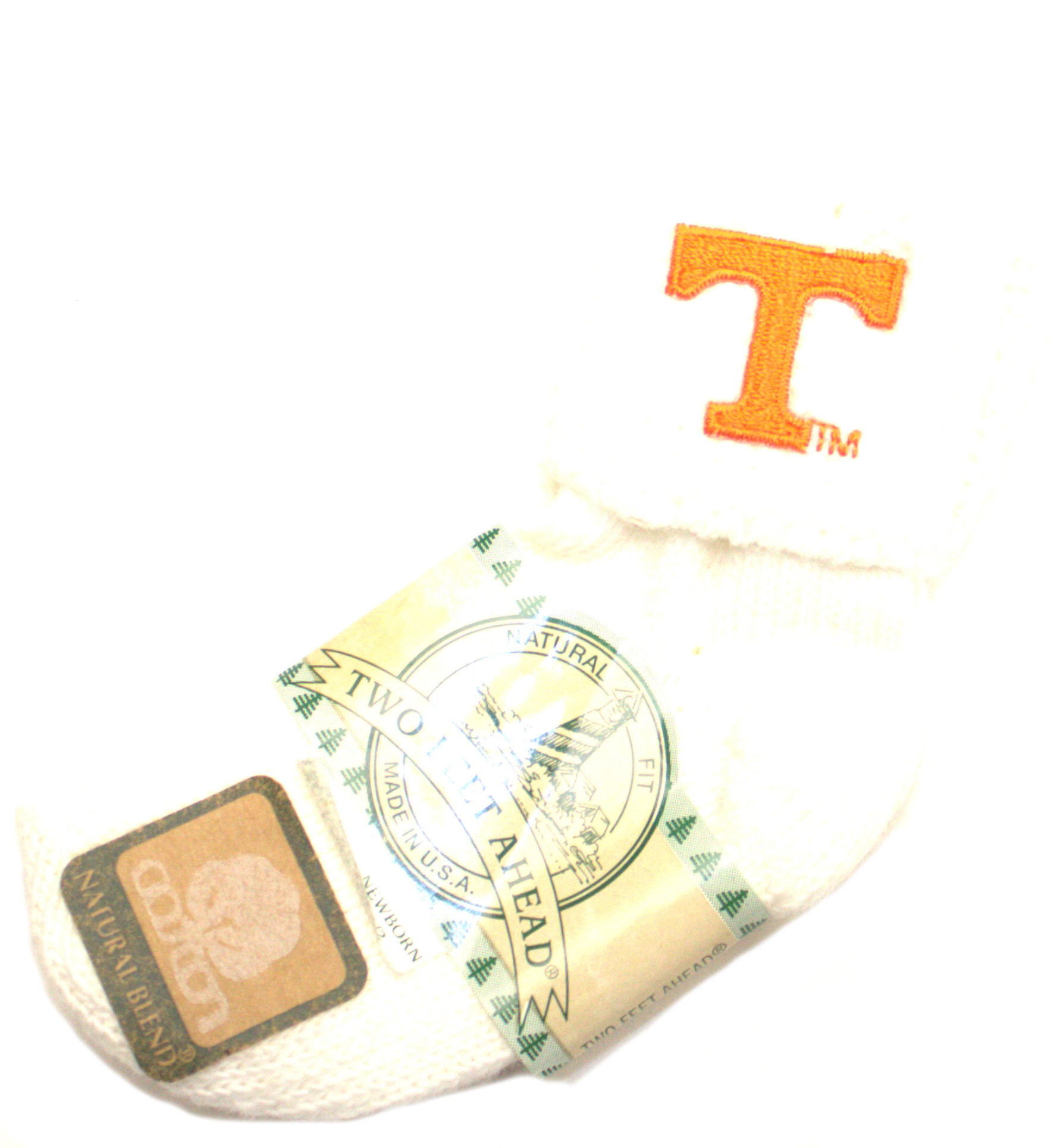 Tennessee Volunteers Infant White Cuffed Socks (Size 3-4.5)