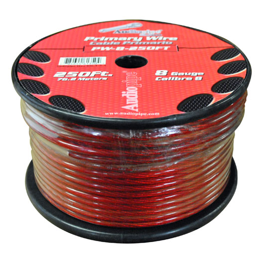 POWER WIRE AUDIOPIPE 8GA 250' RED
