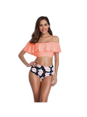 90d7b99aa2d4e Product Image TOPCHANCES Swimwear Women Elegent High Waisted Bikini Off  Shoulder Flounce Ruffled Push-Up Swimsuit Bathing
