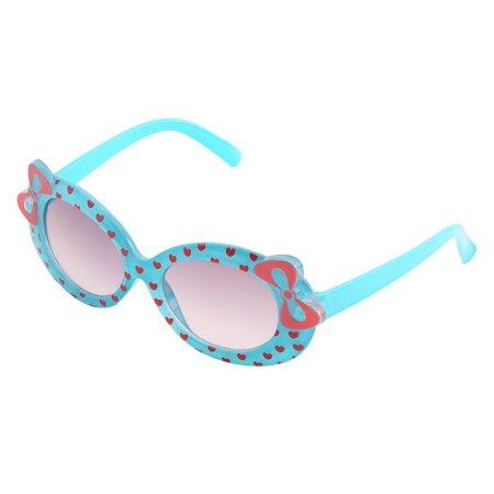 Sunglasses Durable Plastic Cute Baby Child Kids Children Fashion Casual Multicolor Cat Eye Bow Design Heart Print Sunglasses Glasses  Sky Blue