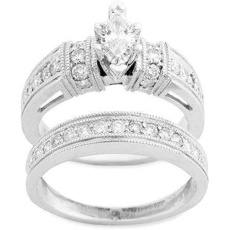 1 carat diamond marquise bridal set in 10kt white gold walmartcom - Walmart Wedding Rings Sets