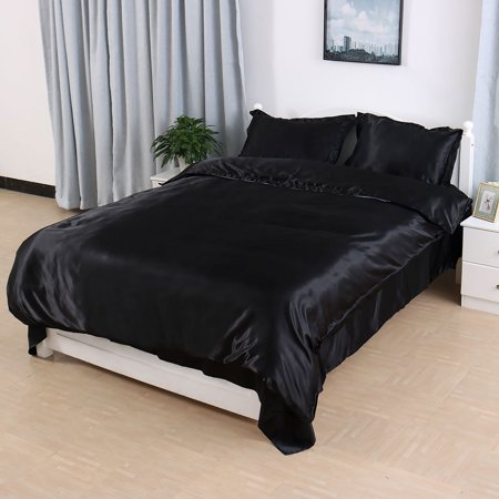 Satin Silk Duvet Cover Flat Sheet Pillow Shams Bedding Set Black Queen Size
