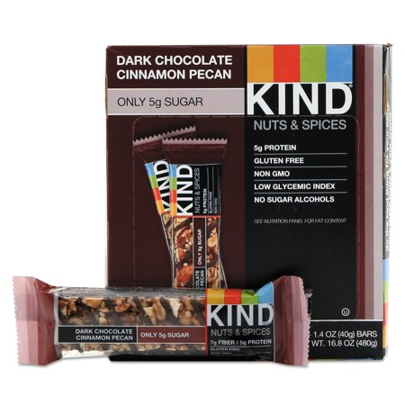KIND Nuts and Spices Bar, Dark Chocolate Cinnamon Pecan, 1.4 oz, 12/Box