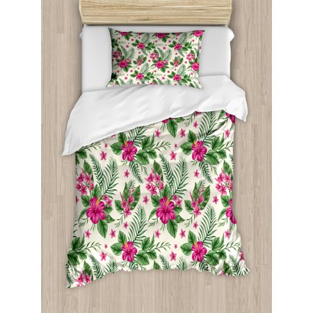 Watercolor Duvet Cover Set, Plumeria and Hibiscus Flora Tropical Island Nature Aloha Hawaii Jungle, Decorative Bedding Set with Pillow Shams, Magenta Cream Green, by Ambesonne