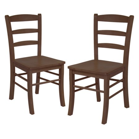 Ladder Back Chairs - Set of 2, Antique Walnut