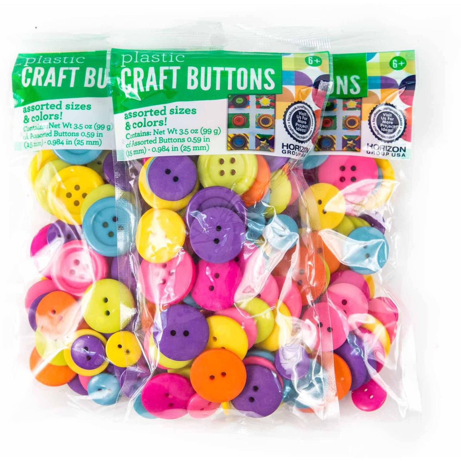 Plastic Craft Buttons Assorted Sizes & Colors, 3pk by Horizon Group USA