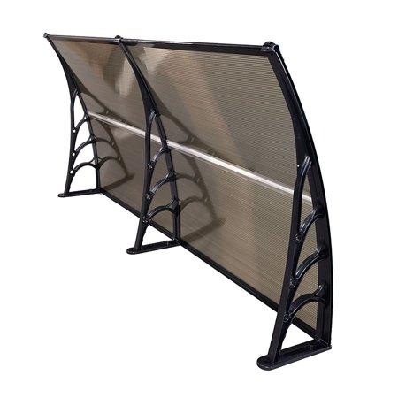 Ktaxon Window Awning Outdoor Polycarbonate Front Door Patio Rain Cover,Garden Eaves Canopy,Brown