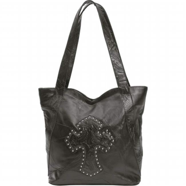 BNFUSA LUP201 Embassy Leather Purse with Studded Cross and Interior Pockets