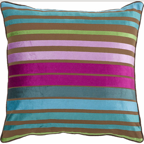 "Art of Knot Beja 18"" x 18"" Teal Hand Crafted Viscose/Cotton Decorative Pillow with Down Filler"