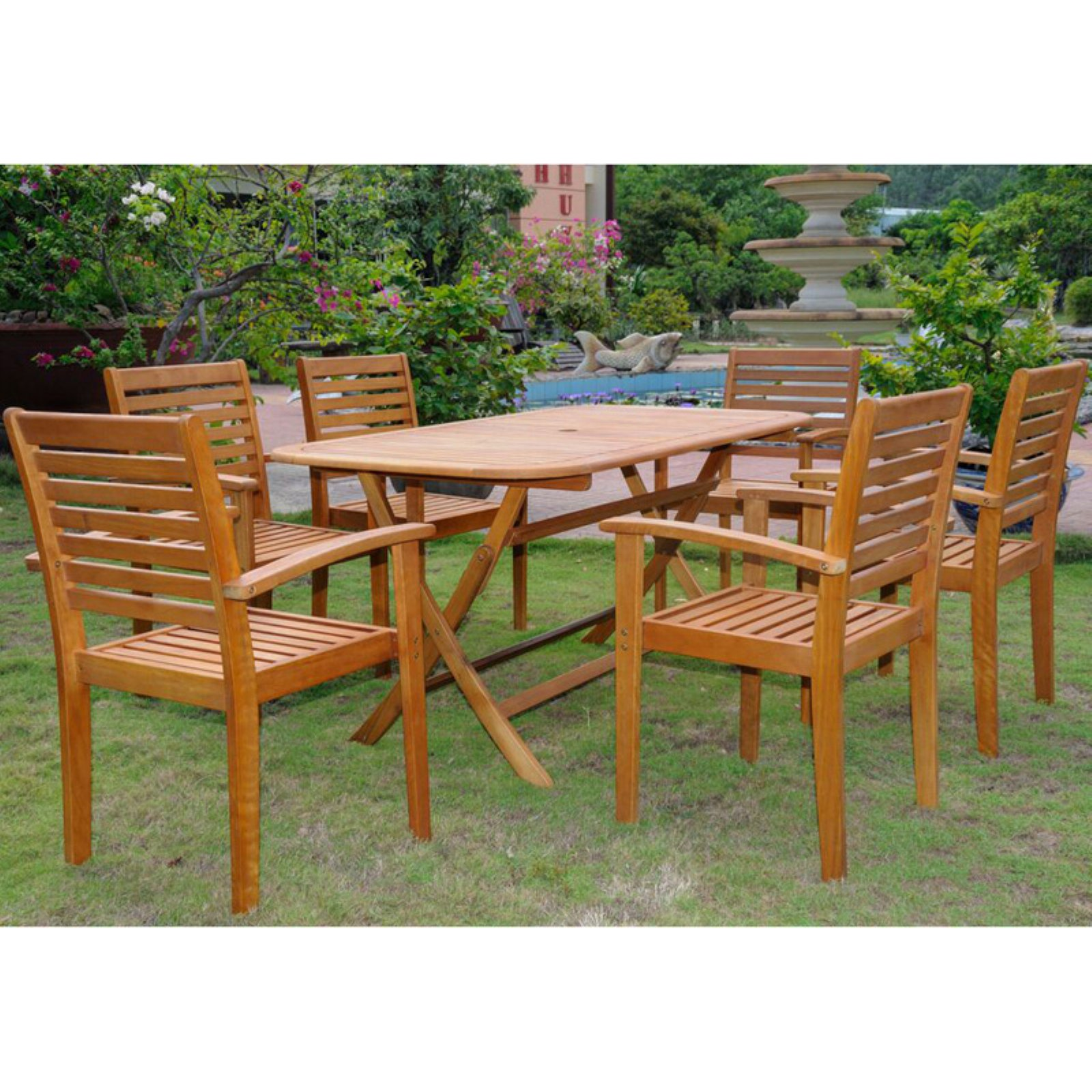 International Caravan Royal Tahiti Mataro Balau Wood 7 Piece Patio Dining Set
