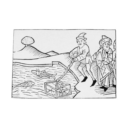 - Woodcut of Alexander the Great in a Diving Bell Print Wall Art
