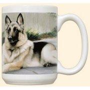 German Shepherd On Porch Mug by Fiddler's Elbow - C8FE